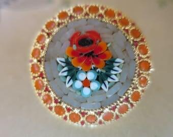Vintage Gold Mosaic Poppies Brooch Stone Inset Round Gold Casing Orange Red Poppies Orange Glass Circle Border
