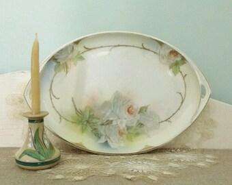 Vintage Prussia Hand Painted Roses Gilt Platter