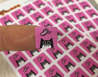 Running planner stickers, pink training shoe cat stickers square 12mm, 80 stickers, jogging, walking, trekking, treadmill, fitness, sneakers
