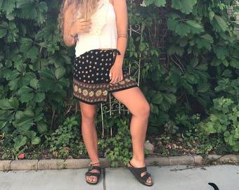 Vintage wrap Skirt, Size S/M, upcycled wrap skirt, rayon wrap skirt, mini wrap skirt, tapestry mini skirt, festival mini skirt,  Zasra