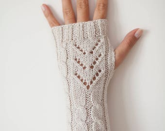 Handmade Chic Gloves, Fingerless Gloves,  Wristwarmers, Handwarmers  Mittens - Wool Blend - So Soft and Warm - in LINEN