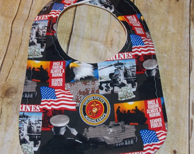 Baby Bib handmade using licensed Marines fabric -  Hero baby bib -  licensed fabric  - USA Baby Bib - Armed services fan - Daddy's hero bib