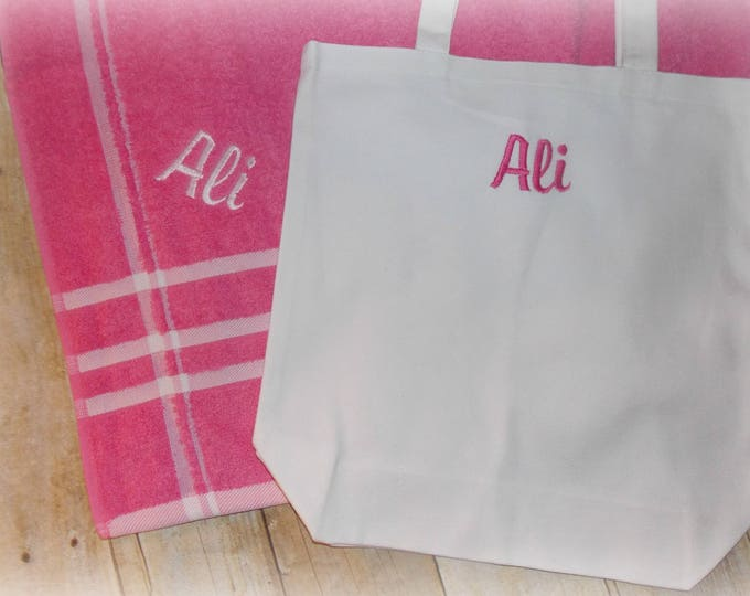 Child size personalized Beach towel and tote bag set - Embroider beach towel and tote set - monogrammed towel - Birthday - Swimming party