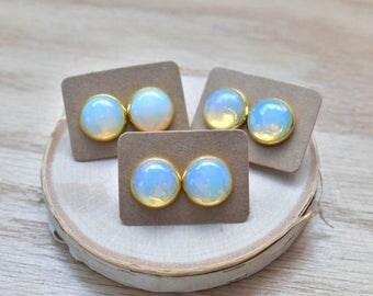 20% EARRING STUD SALE Gold Round Opalite Bezel 14mm Stud Earrings/ White Blue Opalite Large Round Cabochon Gold Studs/ Natural Gemstone Mine