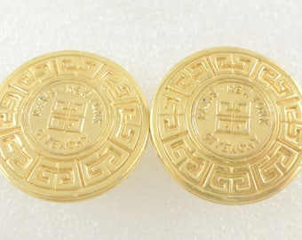 Vintage GIVENCHY Gold Coin Clip On Earrings - 1980's