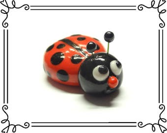 Cold Porcelain Clay Ladybug Figurine, Ladybug Magnet, Ladybug Sculpture, Cupcake Topper, Keepsake, Miniature, Desk Decoration, Bug Fan Gift