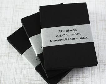 ON SALE ATC Blanks Aceo Blanks Black Drawing Paper Artist Trading Card Supplies Aceo Supplies Altered Art Mixed Media Scrapbooking 30 count