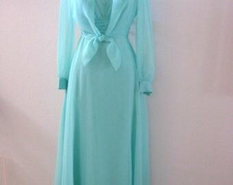 Vintage 70s 80s Seafoam Aqua Chiffon Maxi Dress and Bolero - Chiffon Party Prom Dress with Matching Bolero - Size Medium estimated