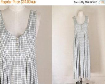 20% off SALE vintage gauze sundress - SAGE green & white crinkle cotton pinafore dress / S