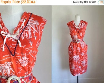 AWAY SALE 20% off vintage 1960s sundress - OLD Harbor nautical shift dress / L