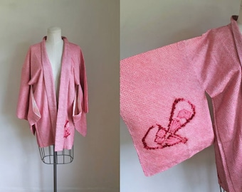 vintage haori - SENSU fan print shibori kimono jacket (deadstock)