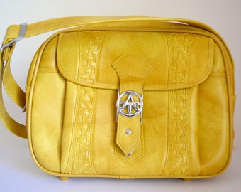 1970s American Tourister Carry On Yellow Mustard Luggage Tote Escort Overnight Bag Lock