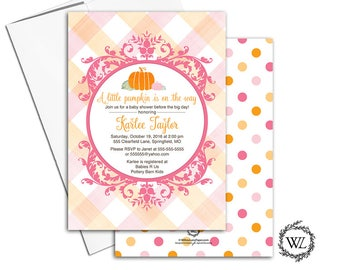 Fall baby shower invitations girl, a little pumpkin baby shower invitations, printable or printed, pink orange baby shower invite - WLP00855