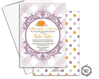 Fall baby shower invitations girl, a little pumpkin baby shower invitations, printable printed, purple orange baby shower invite - WLP00855