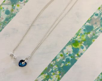 Sale - Bermuda Blue Swarovski Heart Pendant in Sterling Silver Chain