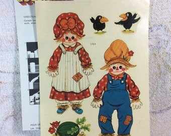 SUMMER SALE 1970s Vintage Water Applied Decals Raggedy Ann and Andy Patchwork Dolls ScareCrows Watermelon Canada Decal