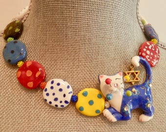 Ceramic Artisan Cat Necklace with a Jewish Star Hanging on its Tail -Multi Color Kazuri Beads -Crystal Cluster Beads- Colorful