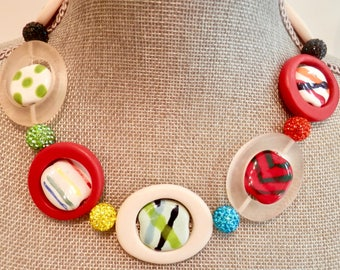 Artisan Necklace with Red White Clear Resin Rings - Multi Color African Kazuri Beads and Crystal Cluster Beads- Unusual and Lightweight