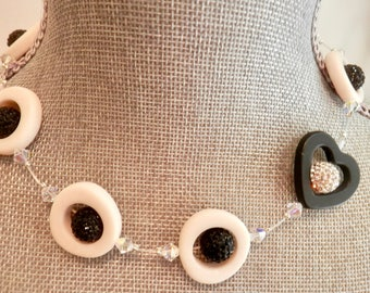 Artisan Necklace - White Resin Rings - Black Onyx Heart- Crystal Cluster Beads- Swarovski Crystals -Unusual- Lightweight