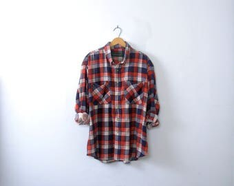 Vintage 90's grunge plaid flannel shirt, blue red and white, oversized flannel shirt, size XL