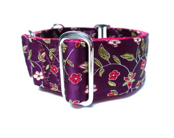 "Houndstown 1.5"" Wine Buds Unlined Martingale or Buckle Collar Size Small, Medium, Large, X-Large"