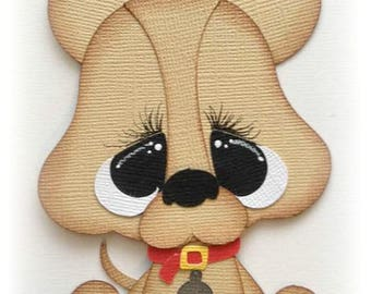 Adorable sitting Chihuahua pet animal premade paper piecing 3d die cut by my tear bears kira