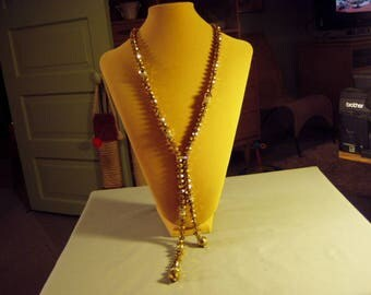 Vintage Joan Rivers Gold Faceted Glass Bead Necklace Big Chunky Style 9282