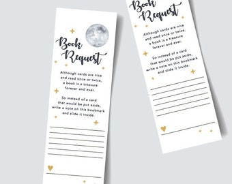 Book Request, Bookmark, baby shower, card, twinkle twinkle, stars, moon, night