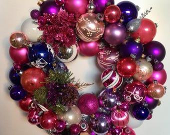Pink and Purple Wonderland Handmade Vintage Ornament Ball Christmas Wreath FREE Shipping