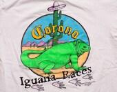 Corona Iguana Races T-shirt, Extra Beer Ad, Vintage 90s, Breweriana Apparel, Mexican Sombrero, Stedman Super Hi-Cru