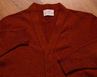 Jantzen Pocket Cardigan, Rust Hipster Sweater, Vintage 60s, Like New, Debonair Grandpa Fashion, Student Library Swag, Wool Shirt, Small