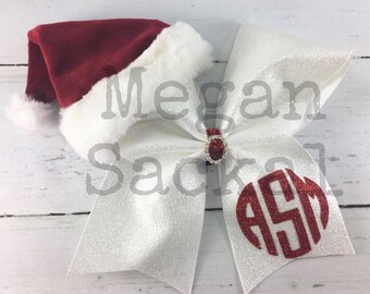 1 Cheer Bow, Girls Large Cheer Bow, Christmas  Cheer Bow, Christmas Monogram Cheer Bow, Leave Note During Checkout