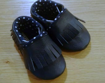 Baby shoes, navy blue leather fringed moccasins size 3-6 months, soft soled baby shoes girls boys unisex