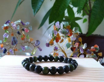 """Handmade Natural Gemstone Russian Green Seraphinite & Wood 8mm Stretch 7"""" Bead Bracelet, Connect With Angels, Protection, Healing Bracelet"""