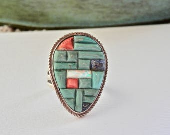Signed Vintage Native American Ring Inlaid Mosaic Turquoise Coral Opal Lapis Vintage Southwestern Sterling Silver Zuni Size 5.5 Ring 925