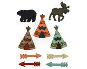 Jesse James Buttons Indian Teepees Arrows Moose Bear Native American Wilderness Button Set