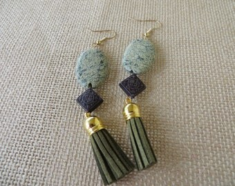 Green Jasper And Leather Tassel Statement Earrings