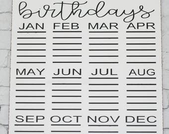 Birthday calendar, family birthday calendar, hanging birthday calendar,  wooden birthday calendar, birthday reminder, wall calendar,