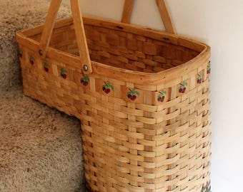 Captivating Vintage Stair Step Basket, Stairstep Basket, Woven Basket, Wood Basket,  Country Decor Amazing Design
