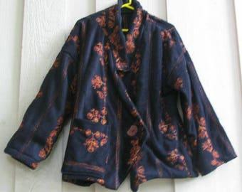 OOAK One of a Kind Fleece Jacket Coat Blazer Boho Jacket XL-2X