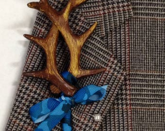 Artificial Antler Boutonniere, Blue Camouflage Bout, Blue Camo, Bout, Camo Men's Lapel Flower Camouflage Bout