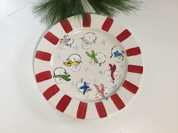 Hand painted Christmas Snowmen Platter, Christmas cookie plate, ceramic snowmen platter, Christmas platter, Hand painted, holiday platter