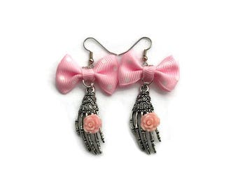 Pink Bow and Skeleton Hand Earrings - Day of the Dead, Dia de los Muertos, Halloween - Nickel Free - Spooky, Creepy - Handmade