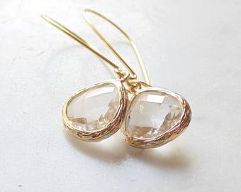 Gold wedding earrings Bridal crystal earrings Bridal teardrop earrings Bridesmaid earrings Bridal earrings Wedding earrings Bridal jewelry