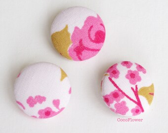Rose Buttons - Pink 23mm - Handmade - set of 3 - BOUTM6