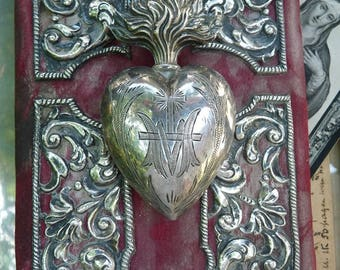 SALE:  1800s Antique French Religious Ex Voto Sacred Flaming Heart, Marian Talisman for the Passionate, offered by RusticGypsyCreations