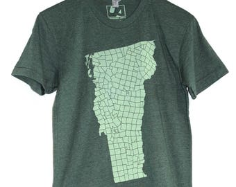 Vermont VT Towns T-shirt, Men's American Apparel Heather Forest Green Tee