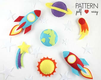 Space Mobile Pattern, Baby Mobile Pattern, Space Toy Pattern, Felt Rocketship Pattern, Planets Pattern