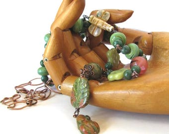 IN THE GARDEN necklace earring set,  long beaded copper and unakite necklace with frog and dragonfly, gardener jewelry, gift for gardener