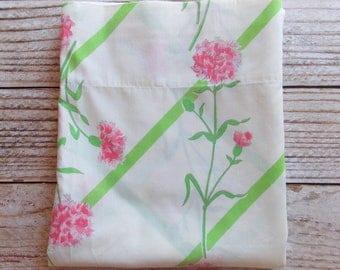 Vintage double plat feuille / rose & vert Floral / Vintage linge de maison